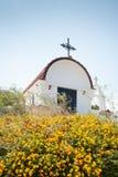 Grekiskt ortodoxt kapell för traditionell liten bortförklaring Grekland Europa fotografering för bildbyråer