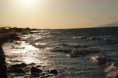 Grekiskt solsken på vågorna Arkivbilder