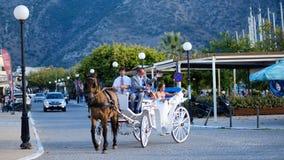 Grekiskt traditionellt bröllop med en hästtriumfvagn arkivfoton