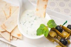Grekiskt Tzatziki yoghurtdopp och pitabröd royaltyfri fotografi