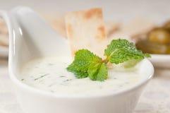 Grekiskt Tzatziki yoghurtdopp och pitabröd Arkivbilder