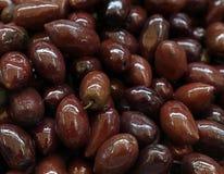 GrekKalamata hela svarta glansiga oliv royaltyfri bild