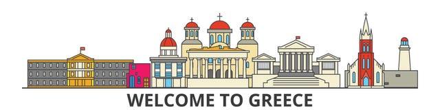 Grekland översiktshorisont, plan tunn linje symboler, gränsmärken, illustrationer för grek Grekland cityscape, grekisk loppstadsv royaltyfri illustrationer
