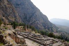 Grekland. Delphi. Tempel av Apollo Fotografering för Bildbyråer