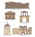 Grekland eller grekisk berömd linje arkitekturmonument stock illustrationer