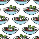 Grekland för modell för grekisk salladmaträtt sömlös kokkonst royaltyfri illustrationer