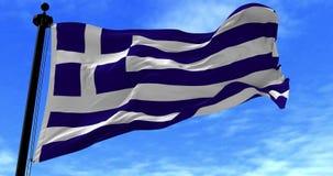Grekland flagga i vinden lager videofilmer