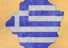 Grekland flaggaabstrakt begrepp i betong för agg för fasadstruktur stor skadad royaltyfri fotografi