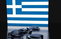 Grekland flaggaeuro Royaltyfri Bild