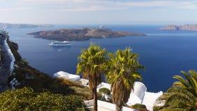 Grekland för Santorini ölandskap lopp Arkivbilder