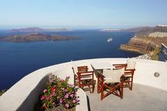 Grekland för Santorini ölandskap lopp Arkivfoto