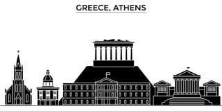 Grekland horisont för staden för Atenarkitekturvektorn, loppcityscape med gränsmärken, byggnader, isolerade på sikt royaltyfri illustrationer