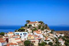 Grekland Kea ö Panoramautsikt av den Ioulida byn, Arkivbilder