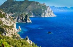 Grekland Korfu ö, Paleokastritsa Royaltyfria Foton