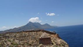 Grekland Kreta, restna av en forntida fästning arkivfoton