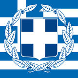 Grekland lag av armen och flaggan Royaltyfria Foton