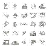Grekland linje symbolsuppsättning vektor Arkivfoto