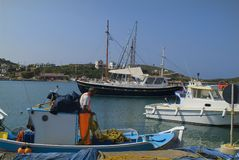 Grekland Lipsi ö, Fisher Man Arkivfoton