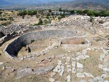 Grekland Mycenae, bästa sikt av bosättningmitten royaltyfri bild