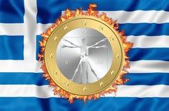 Grekland och euro stock illustrationer
