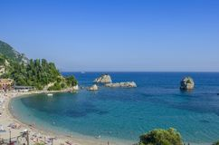 Grekland - Parga - Ionian hav - stadsstrand Royaltyfria Foton