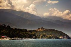 Grekland Platamonas medeltida fästning, Augusti 2015 Arkivfoto