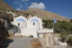 Grekland Santorini, kyrka av Kamari Arkivbilder