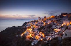 Grekland Santorini solnedgång Arkivbild