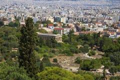 _ Grekland Sikt av templet av parthenonen till den forntida marknadsplatsen Akropolen Arkivbild