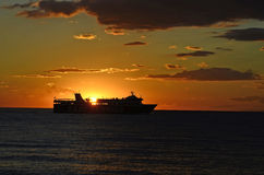 Grekland solnedgång Arkivbild