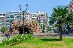 Grekland Thessaloniki, fördärvar av slott av Roman Emperor Galerius Arkivfoton