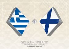 Grekland vs Finland, liga C, grupp 2 Europa fotbollcompetitio Vektor Illustrationer