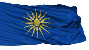 GrekMakedonien flagga som isoleras på vit royaltyfri illustrationer