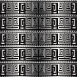 Grektangenten för silver 3d slingrar den sömlösa modellen för vektorn mönstrat Royaltyfri Illustrationer