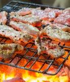 Grelhando a carne de porco Imagem de Stock