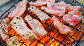 Grelhando a carne de porco Fotos de Stock Royalty Free