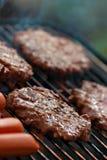Grelhando Hamburger e cães quentes Fotografia de Stock Royalty Free