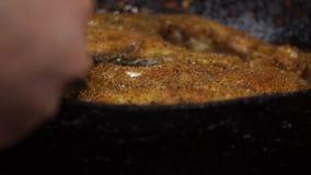 Grelhando peixes em uma bandeja Close-up vídeos de arquivo
