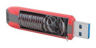Greller Antrieb mit Filmstreifen, Wiedergabe 3D lizenzfreie abbildung