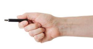 Grelles Laufwerk in der Hand getrennt auf Weiß Stockbild