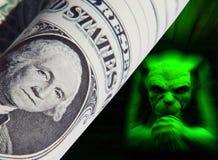 Gremlin del dólar imágenes de archivo libres de regalías