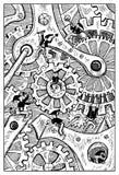 Gremlins breaking clock mechanism. Engraved fantasy illustration Royalty Free Stock Photo