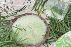 Gren bath salt on with rosemary arrangement Royalty Free Stock Photography