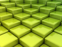 Gren stacked boxes. 3d render of stacked green cubes Stock Images