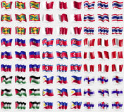 Grenada, Bahrain, Thailand, Haiti, Korea North, Peru, Palestine, Philippines, Netherlands Antilles. Big set of 81 flags. Royalty Free Stock Photography