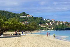 Grenada beach, Caribbean. Panorama of Grand Anse beach in Grenada, Caribbean Royalty Free Stock Photography