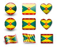 The Grenada flag. Set of icons and flags. glossy and matte on a white background Stock Image