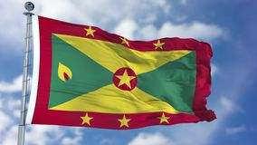 Free Grenada Flag In A Blue Sky Stock Photo - 113340610