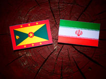 Grenada flag with Iranian flag on a tree stump isolated. Grenada flag with Iranian flag on a tree stump Royalty Free Stock Images