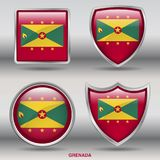 Grenada Flag in 4 shapes collection with clipping path royalty free stock photo